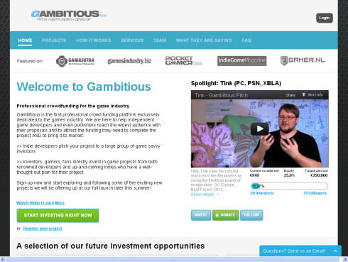 Gambitious - Pitch, Get Funded, Develop